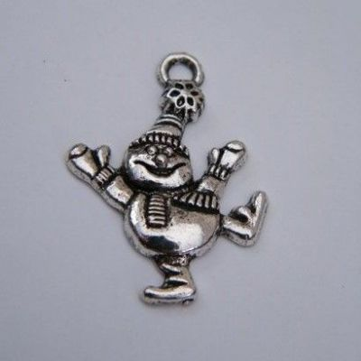 Dancing Snowman Initial Wine Glass Charm - Full Sparkle Style